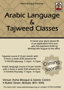 Arabic & Tajweed Classes Poster - Aisha Mosque & Islamic Centre